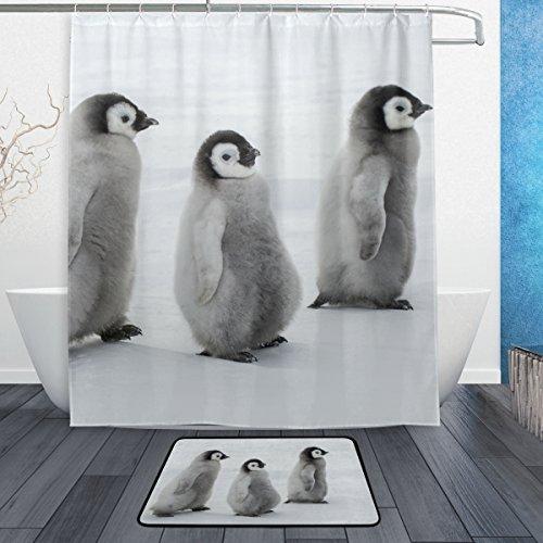My Daily Pinguine Duschvorhang, 152,4 x 182,9 cm, mit Badvorleger & Haken, schimmelresistent & wasserdicht, Polyester-Dekoration, Badezimmer-Vorhang-Set