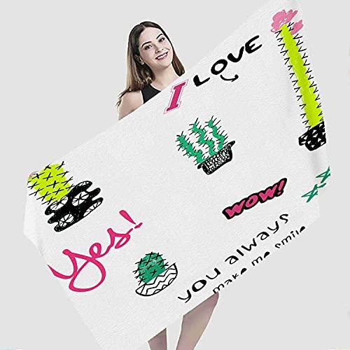 "Art Beach Towel,Love You Cactus Beautiful Watercolor Graphic Tee Art Background,Microfiber Super Absorbent Beach Blanket for Travel Beach Camping Swimming Outdoor Towel Mat,31""x63"""