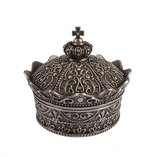 VIWIV Decoración para el hogar Vintage Corona Joyero Hogar Salón Oficina Caja de Almacenamiento Creativo Decoración Exquisita Metal Artesanía Regalo