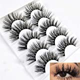 Mixed 6D Mink False Eyelashes Full Strips Thick Cross Long Lashes Wispy Fluffy Eye Makeup Tools 5 Pairs (6D-04)