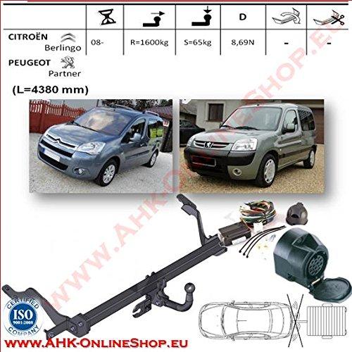 Enganche para remolque con base de 13polos para Citroën Berlingo SWB. Con bola de cuello de cisne desmontable con herramientas.