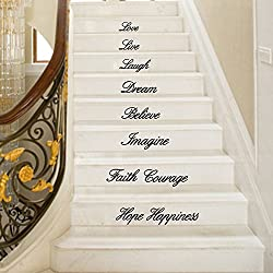 Euone Wall Sticker, Live Laugh Love Dream Believe Imagine Faith Courage Hope Happiness-Self-Adhesive Removable Mural for Stair Decals