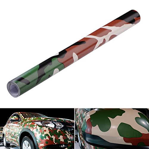 QEUhang 2 PCS Camouflage Autofolie Sticker Tarnfolie 152 X 30CM Selbstklebend Car Wrapping Auto Folie (Woodland Camouflage)