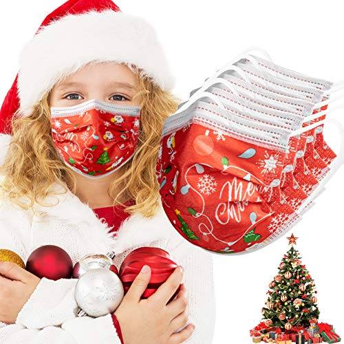 Christmas Face Mask for Kids 50Pack Child Disposable 3-Layer Protective, Soft Skin Layer,Christmas Red