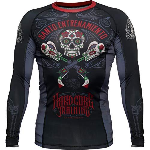 Hardcore Training Rashguard Camisa de Compresión Hombre Manga Larga MMA BJJ No-Gi