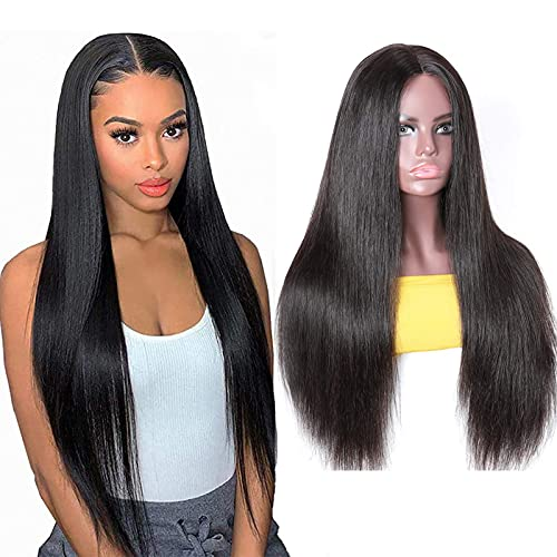 Lace Front Wigs Straight Human Hair Silk Base Lace Closure Wigs for Black Women 10A Brazilian Remy Virgin Human Hair Wigs Natural Black Color 16 Inch