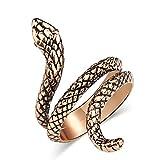 FEDBNET Anillo de serpiente en espiral ajustable estilo gótico punk unisex retro joyería regalo 9 dorado