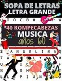 Sopa de letras Letra Grande Musica años 60: 40 rompecabezas para mayores sobre el tema de los años 60 | Juegos para encontrar los titulos de famosas ... para amantes de la música y de juegos en casa