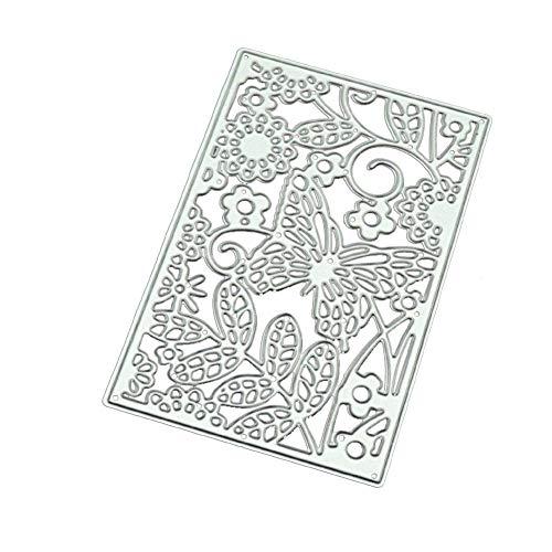 Lumanuby 1x Hintergrund Stanzschablonen aus Karbonstahl Stanzformen für Grußkarten von Geburtstag Jubiläum Deko für Einladungskarte für Hochzeit Bankett Baby Shower, Schmetterling Rebe 10.2x6.5x0.1cm