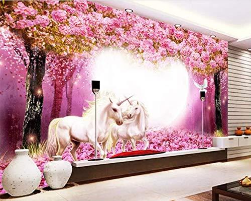 Kundenspezifische 3D Wallpaper Warmes Taoyuan Woods White Horse Unicorn 3D Tv Kinderzimmer Hintergrund Wand Tapete 3D, 430 × 300Cm