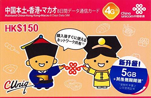【正規日本語版】「 中国 本土31省と 香港 8日間 無限 上網 Data通信 専用 プリペイド/SIMカード 」《※2021年12月末までの開通なら1枚7GBまで使用可能》