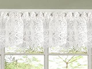 Sweet Home Collection Old World Style Floral Heavy Lace Kitchen Curtain Valance, Hopewell White