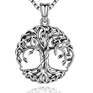 DESIGN - 100% unique original design, 100% solid sterling silver material. The tree of life necklace is designed with Celtic style. The surface of the silver tree of life pendant is treated with oxidation process, natural, retro, and well textured RE...