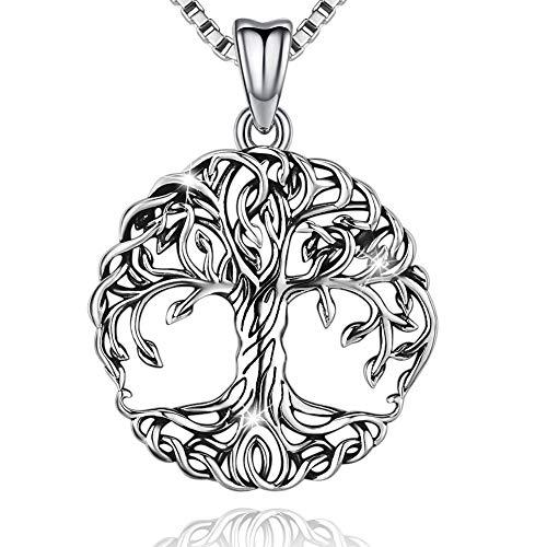 Friggem Delicato albero della vita Collana e pendente in argento sterling per donna e uomo