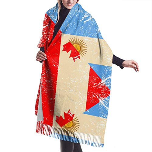 Bufanda de mantón Mujer Chales para, Mujeres Hombres Canadá y Argentina Bandera Retro Bufanda de cachemira Moda Chal Abrigo Bufanda Invierno Cálido Bufandas acogedoras