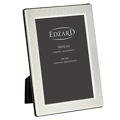 EDZARD Marco de fotos Cagliari de 10 x 15 cm, chapado en plata, resistente al deslustre, con reverso de terciopelo, incluye 2...