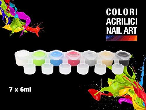 Set Pots 7 couleurs acryliques pour ongles, Nail Art Reconstruction Ongle avec complaisance doseur + Pinceau pointe fin Kit 06