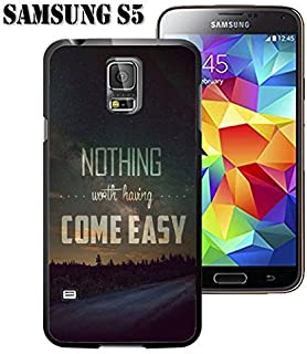 S5 Case Samsung Galaxy S5 Black Cover TPU Rubber Gel - Bible Verses Nothing Worth Having Come Easy