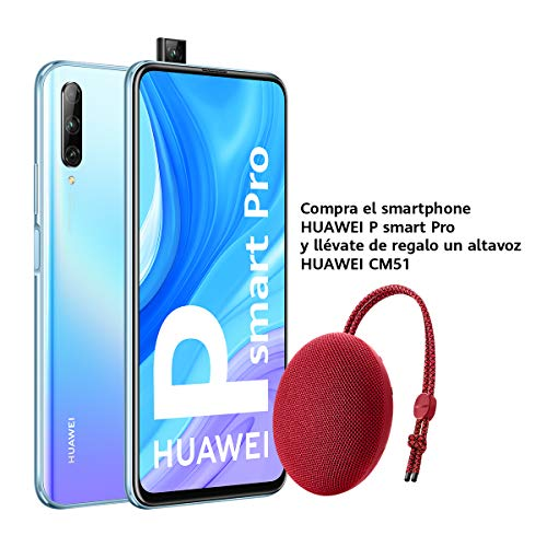Huawei P Smart Pro Smartphone con Pantalla Ultra FullView FHD+ de 6.59' (6GB de RAM + 128GB de ROM, Triple Cámara IA de 48MP, 4000 mAh, Android 9) Color Cristal + Altavoz CM51 Rojo