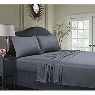 Tribeca Living BAMB300SSQUST 300 TC Rayon from Bamboo Deep Pocket Sheet Set, Steel Grey, Queen