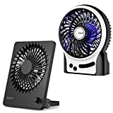 EasyAcc Battery Desk Fan, 160 Foldable Portable Personal Fan Stepless Speed Regulation, Internal and Side Light Table Fan, 2600mAh Battery Personal Cooling Fan for Camping Office Traveling Outdoors