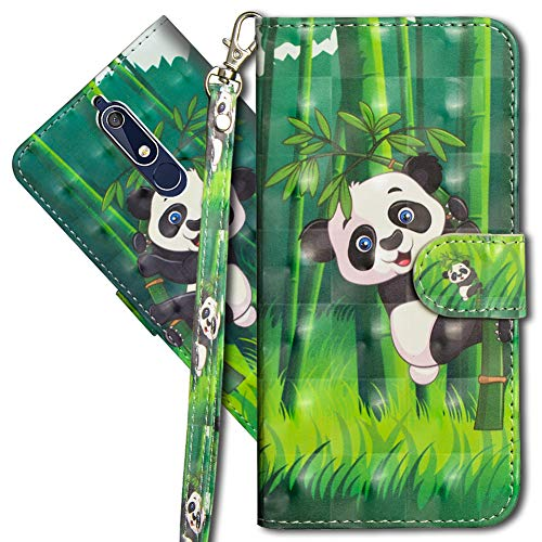 MRSTER Nokia 5.1 Handytasche, Leder Schutzhülle Brieftasche Hülle Flip Case 3D Muster Cover mit Kartenfach Magnet Tasche Handyhüllen für Nokia 5.1 2018. YX 3D - Panda Bamboo