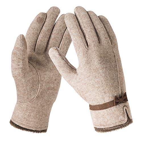 Bequemer Laden Winter Kaschmir Handschuh für Damen Warme Touchscreen Strick Handschuhe mit Bogen Elegant Weich Fleece Winterhandschuhe für Frauen Outdoors