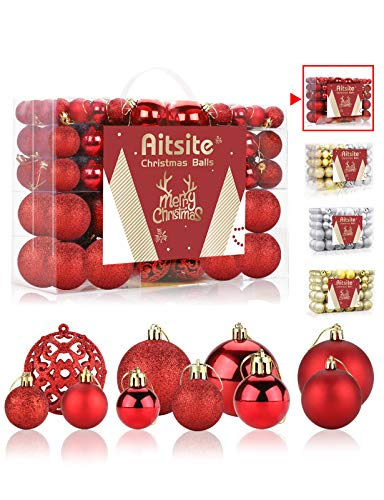 Aitsite 100 Pack Christmas Tree Ornaments Set Mini Shatterproof Holiday Ornaments Balls for Christmas Decorations (Red)