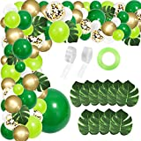 RUBAC 134pcs Jungle Party Balloon Arch Green Balloon Decoration, with Artificial Tropical Palm Leaves for Jungle Party, Birthday Party and Animal Theme Party