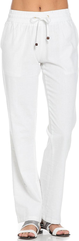 Poplooks Women's Comfy Elastic Waistband Drawstring Linen Pants