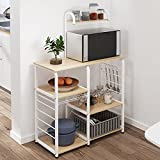 sogesfurniture 3-Tier+4-Tier Kitchen Baker's Rack Utility Storage Shelf Microwave Stand 35.4 inch Storage Cart Workstation Shelf,White Maple BHUS-172-MO