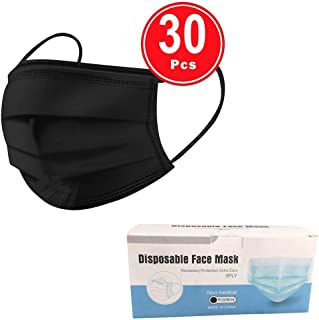 30PCS 3 Ply Face Cover Dustproof, Disposable 3 layer Non-woven Anti-Particle Anti-droplet Anti-pollen Dust-proof Breathable Dustproof, Pack (Black)