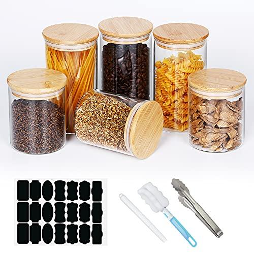 BXYLFF Vorratsdosen Glas 6er Set, Vorratsgläser mit Holzdeckel aus Bambus 21 Aufklebern 1 Stift, Vorratsbehälter Luftdicht Gewürzgläser mit Deckel Set zur Aufbewahrung Küche Tee, Kräutern, Gewürzen