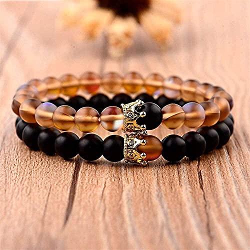 TIANYOU Pulsera de Piedra, 7 Chakra 8Mm Perlas de Piedra Natural de Color Marrón Cristal Elástico Brazalete de Corona Joyería de la Corona de la Corona de la Yoga Energía Balance