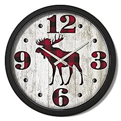 Reflective Art Moose Plaid Classic Clock, 15