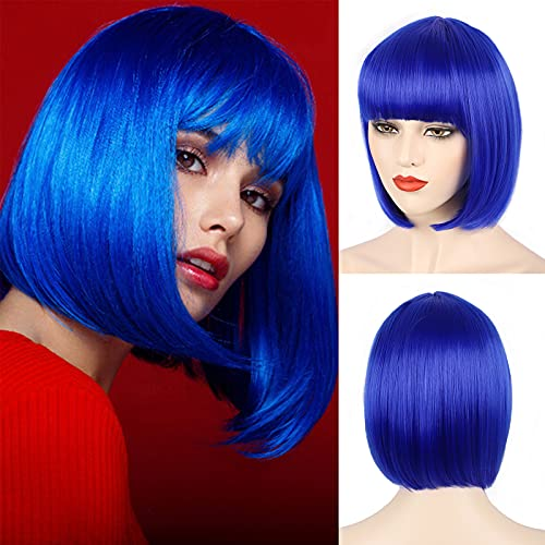 E-FOREST Blue Wig Short Bob Wigs with Bangs for Women Straight Hair Wig Synthetic Party Wigs for Women Girls 12 Inch Colorful Wigs