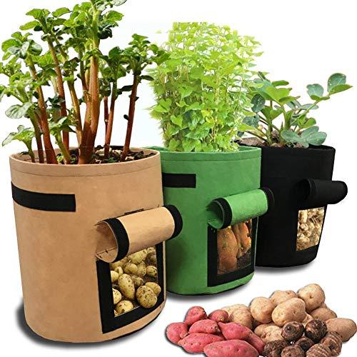Kartoffel-Pflanzgefäß, 3 Stück 7 Gallonen Gemüsepflanz Pflanzer Tasche mit Klappenfenster Große Vlies Garten Pflanzbehälter Kinderzimmer Töpfe für Kartoffel Tomaten Karotten Zwiebel Gemüse Erdbeeren