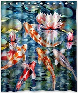 FMSHPON Japanese Koi Fish Waterproof Polyester Fabric Shower Curtain 60x72 Inches
