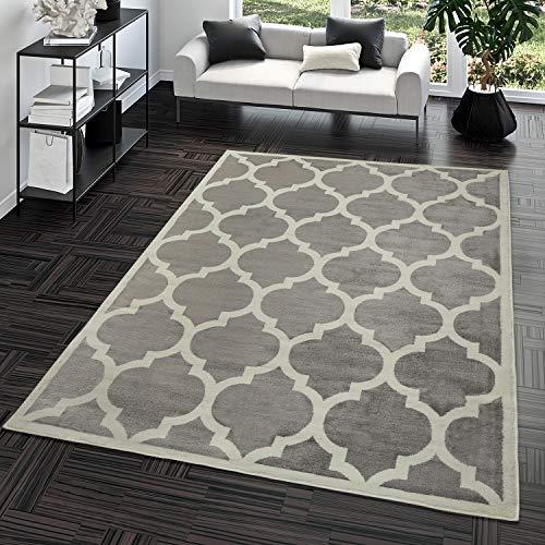 TT Home Kurzflor Teppich Modern Marokkanisches Design Wohnzimmer Interieur Trend Grau, Größe:160x220 cm