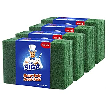 MR.SIGA Heavy Duty Scouring Pads Household Scrubber for Kitchen Sink Dish 24-Pack 3.9 x 5.9 inch  10 x 15 cm  Green