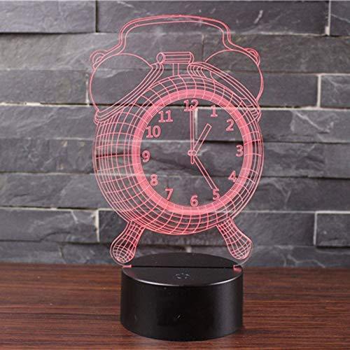KCGNBQING Led 3D Reloj despertador forma ligera de la noche, la ilusión óptica de la lámpara del cambio del color de la decoración de la lámpara 16 dormitorio sueño ligero, escritorio de la tabla de l