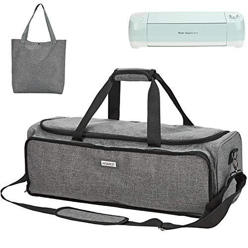 HOMEST Carrying Case for Cricut Explore Air 2, Cricut Maker, Large Front Pocket for Accessories, Grey (Patent Design)
