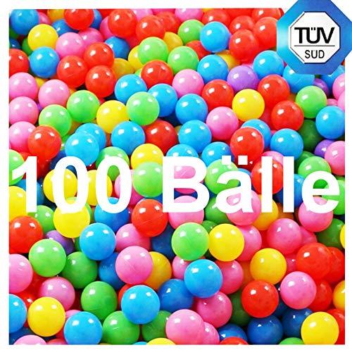 Europhant 100 Spielbälle in 6cm für Bällebad Kinder TÜV SÜD Prüfbericht ohne gefährliche Weichmacher knallige Farben Baby ab Geburt (100 Stück)