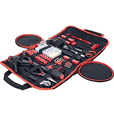 Household Hand Tools, 86 Piece Tool Set With Roll-Up Bag by Stalwart, (Hammer, Wrench Set, Screwdriver Set, Pliers) - Great for the Home or Car