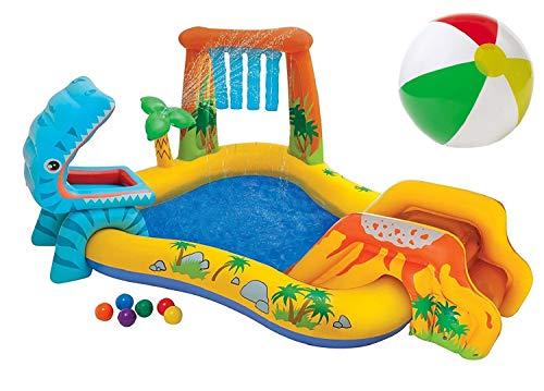 Aufblasbares Wasserspielcenter Playcenter Spielcenter Wasserspielzeug Dino Kinder-Spiel-Pool mit Wasserrutsche und Wasser Sprüher XL ab 3 Jahren Spielzeug für Garten Outdoor
