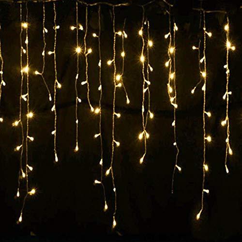 EPAWSWENLONG Weihnachtsbeleuchtung im Freien Dekoration 5 Meter hängen Vorhang Eiszapfen Lichterketten Hochzeit Girlande Licht des neuen Jahres, warmes Weiß, 220V EU-Stecker