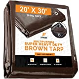 20' x 30' Super Heavy Duty 16 Mil Brown Poly Tarp Cover - Thick Waterproof, UV Resistant, Rip and...