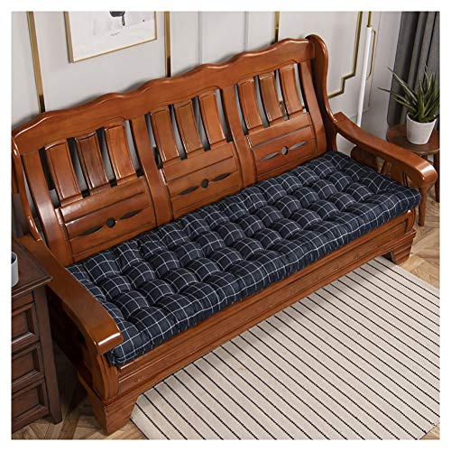 Cojín para banco de jardín de 2 y 3 plazas,de madera suave,cojín de asiento de banco tumbona,colchón de 8 cm de grosor,Cojín de banco de jardín,cojines de palé,cojines-Cuadrícula azul oscuro 52x160cm(