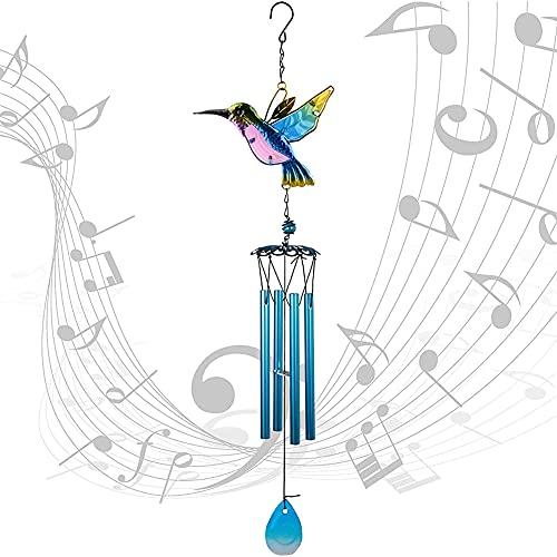 Babioms Colibrí Campanas de Viento,Viento de colibrí Carillón de Viento de Metal,para decoración Interior al Aire Libre Adecuado para la decoración del jardín del hogar