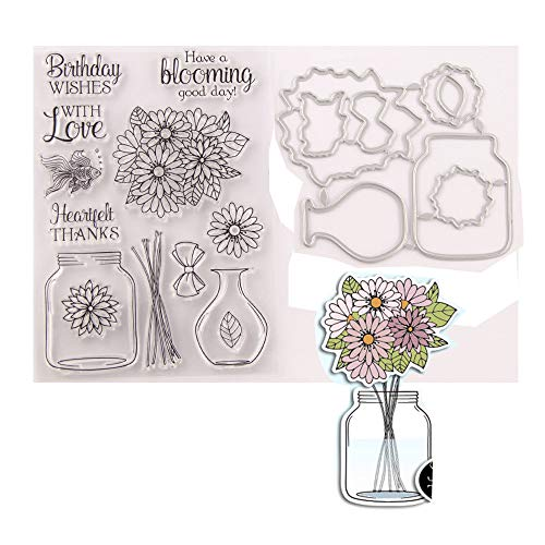 Vase Wishing Bottle Flower Words with Love Birthday Wishes Rubber Stamps and Cut Dies Set for Card Scrapbooking Making Christmas New Year Clear Stamps and Cutting Dies